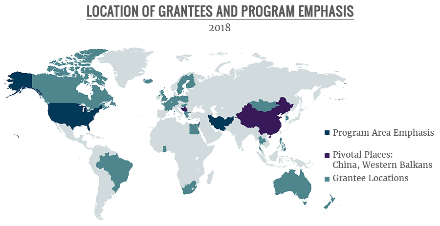 A Map shows grantee locations, program area emphases, and pivotal places.