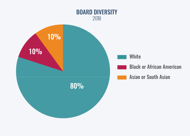 A pie chart shows trustee diversity for 2018. 80% of trustees were White, 10% Black or African American, and 10% Asian or South Asian.