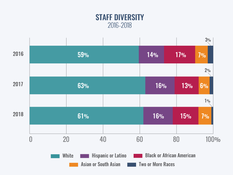 A bar chart shows staff diversity in 2016, 2017, and 2018.